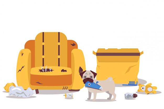 Собака одна дома разрушает иллюстрацию мебели комнаты