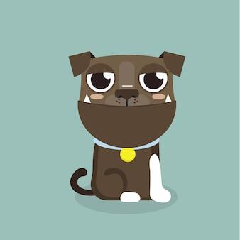 Dog american pitbull terrier cartoon vector.