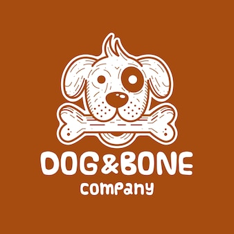 개와 뼈 흰색 로고 디자인
