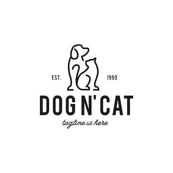 Собака и кошка логотип битник ретро винтаж значок метки Premium векторы