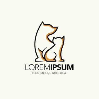 Шаблон логотипа собаки и кошки для зоомагазина.