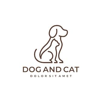 개와 고양이 애완 동물 라인 로고 디자인