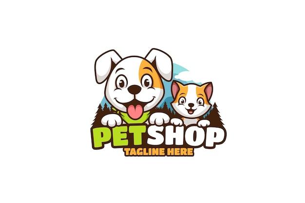 개와 고양이 애완 동물 가게 만화 로고