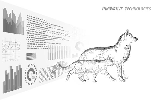 개와 고양이 실루엣 스마트폰. 수의사