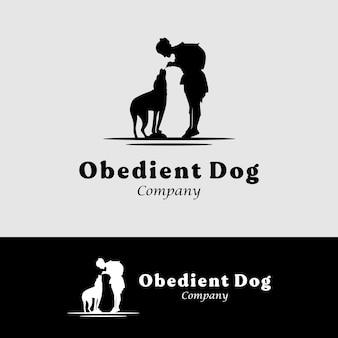 動物のトレーナーのロゴや会社のデザインのインスピレーションのための犬と少女のシルエット