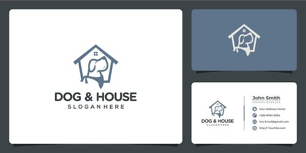 명함 서식 파일이 있는 개와 집 애완 동물 로고 디자인