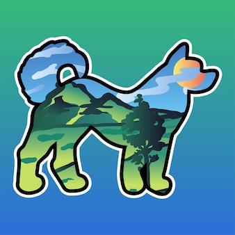 Иллюстрация двойной экспозиции собаки и природы. дикий пейзаж в наклейке с силуэтом домашнего животного