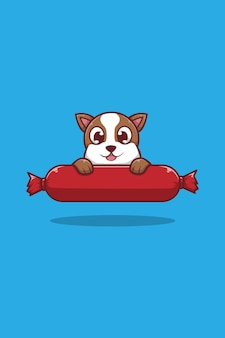 Собака и колбаса иллюстрации шаржа
