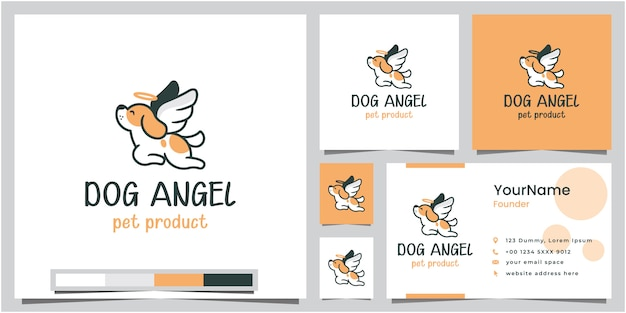 Dog angel pet product logo design with business card Premium Vector