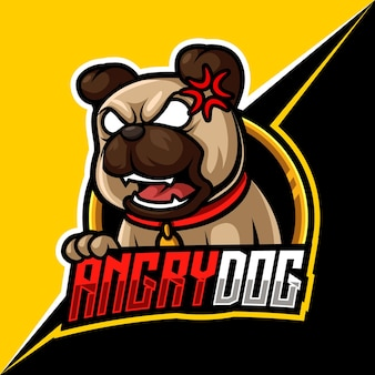 ゲームとストリーマーのための怒っている犬、マスコットeスポーツロゴベクトルイラスト