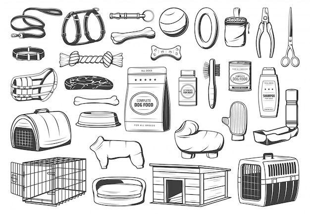 Dog animal care supply, pet shop isolated icons