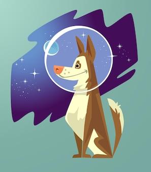 청록색에 고립 된 개 우주 비행사 캐릭터
