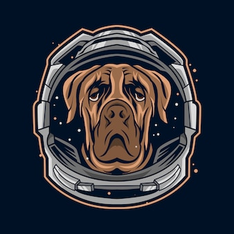 Dog astronaut helmet suit  illustration