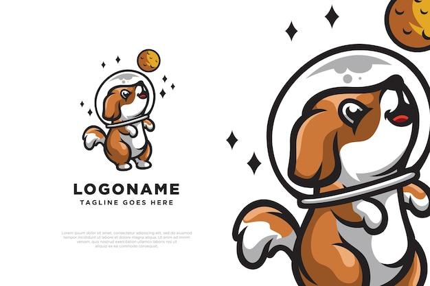 Dog astronaut logo design illustration