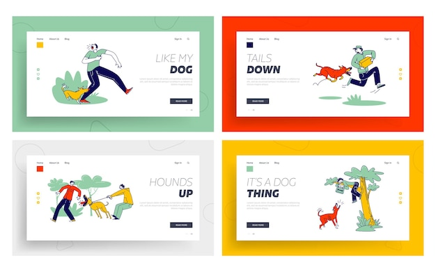 Dog attack landing page templates set