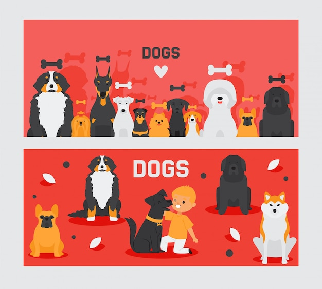 Dog banners, pet and cute boy cartoon characters
