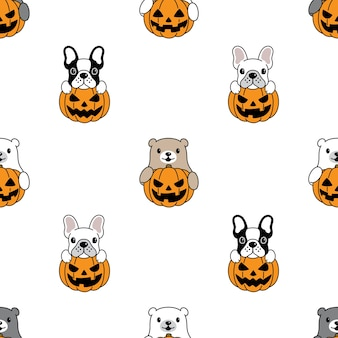 Dog and bear polar seamless pattern halloween pumpkin illustration