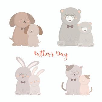 犬、熊、ウサギ、猫のお父さんは父の日に赤ちゃんに満足しています彼らは抱き合って楽しく遊んでいました
