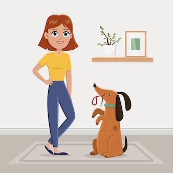 散歩に物乞いをする犬
