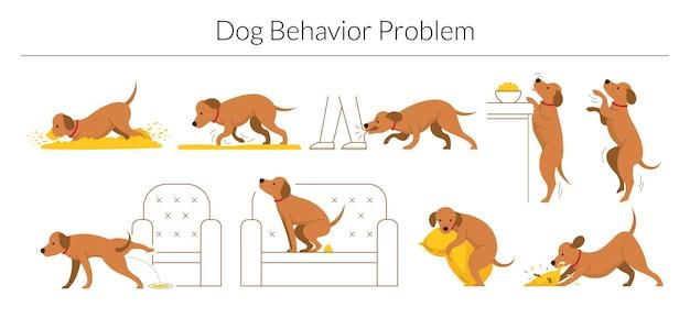 Набор проблем поведения собаки, изолированные на белом фоне