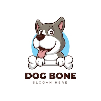 Dog and bone creative cartoon lmascot logo design
