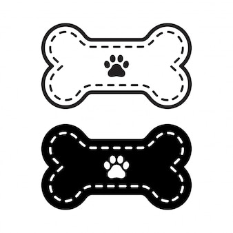 Dog bone icon paw footprint illustration