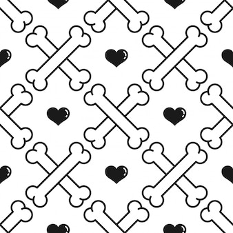 Dog bone seamless pattern heart valentine