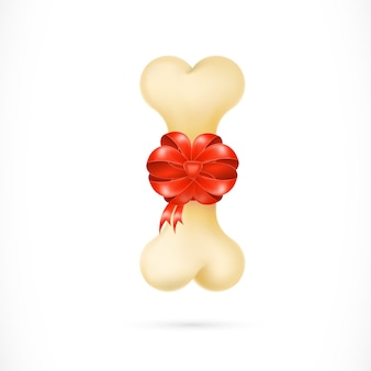 Dog bone with red ribbon illustration
