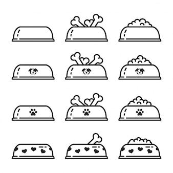 Dog bowl food icon illustration