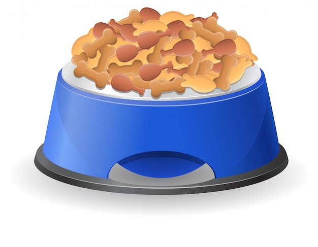 Dog bowl with food vector illustration