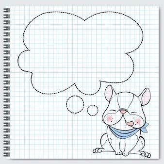 Собака породы бостон-терьер сидит с пузырями речи.