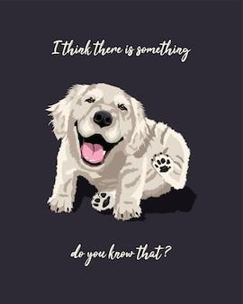 犬種ゴールデンレトリバーまたはグレートピレニーズかわいい様式化された子犬イラストベクトルデザイン