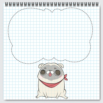 Dog breed pug sitting with speech bubbles.