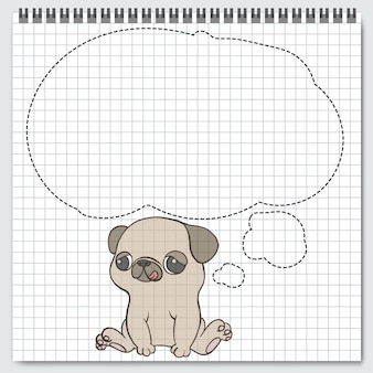 Dog breed toy pug sitting with speech bubbles.