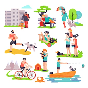 Dog-breeding vector people with pet and woman and man character of dog puppy illustration set of family playing with doggie