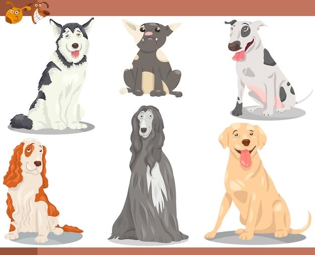Dog breeds cartoon illustration set