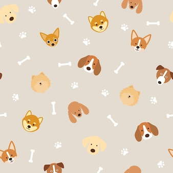 Dog breeds head seamless pattern background, footprint and bone