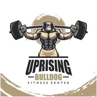 Dog bulldog k9 with strong body, fitness club or gym logo.