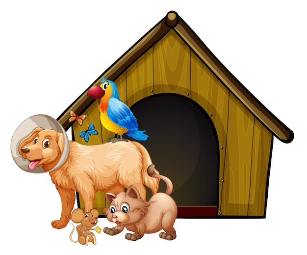 Dog cage with dog group cartoon isolated