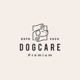 Dog care hand  vintage logo  icon illustration