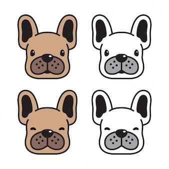 Собака мультфильм французский бульдог голова лицо характер