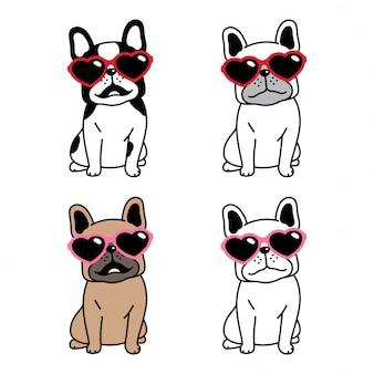 Собака мультфильм французский бульдог сердце солнцезащитные очки персонаж