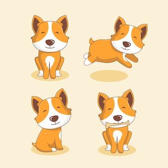 Dog cartoon pet animals set