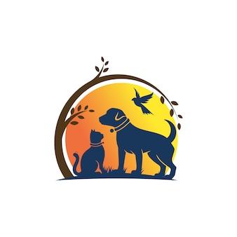 犬猫と鳥のロゴのテンプレート獣医