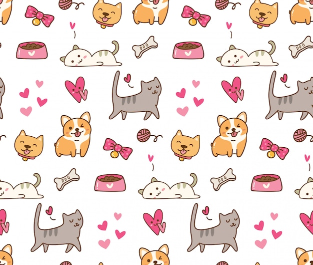 Dog and cat kawaii background