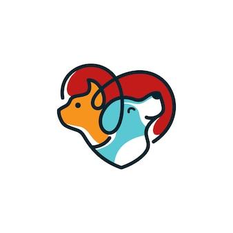 犬猫のロゴのテンプレート獣医