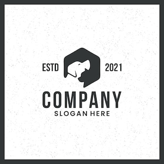 Dog and cat logos, for pet lovers, animal health clinics and other trademarks, with a hexagon concept