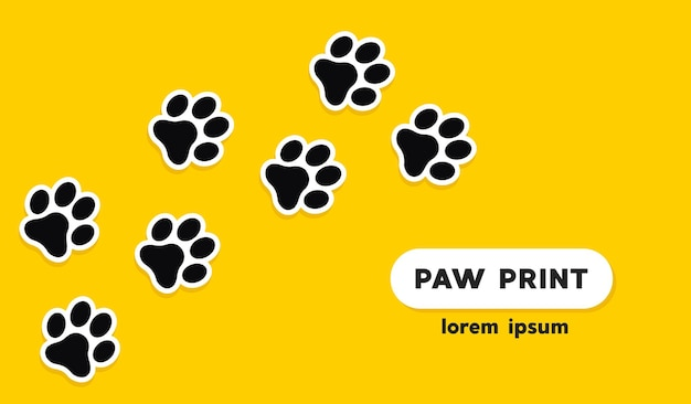 Dog and cat paw print vector icon