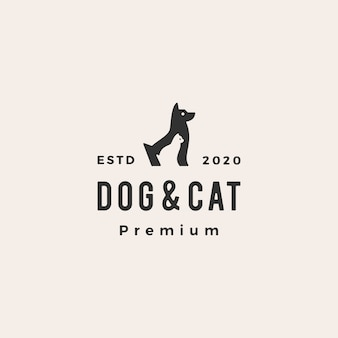 개 고양이 애완 동물 hipster 빈티지 로고 아이콘 그림