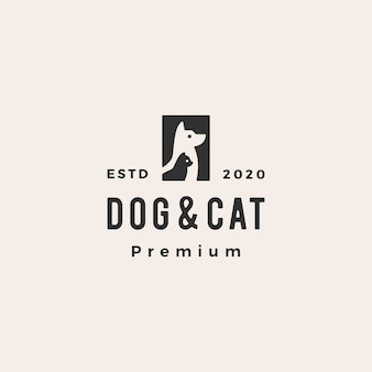 Dog cat pet hipster vintage logo  icon illustration